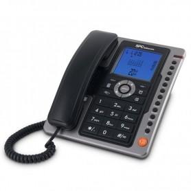 TELÉFONO SOBREMESA NEGRO IDENTIFICADOR DE LLAMADAS 7 REG SPC TELECOM