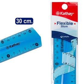 REGLA FLEXIBLE 30CM TRANSPARENTE KATHAY