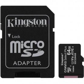 TARJETA MICROSD HC 64GB  ADAPTADOR CANVAS SELECT PLUS CLASE 10 KINGSTON