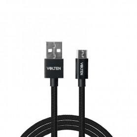 CABLE METAL 2.0 USB A TIPO C 1 METRO NEGRO VOLTEN