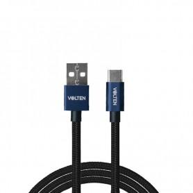 CABLE METAL 2.0 USB A TIPO C 1 METRO AZUL VOLTEN
