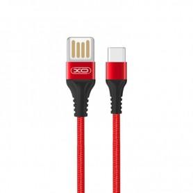 CABLE CARGA RAPIDA SLIM USB - TIPO C 2.1A 1 METRO ROJO XO