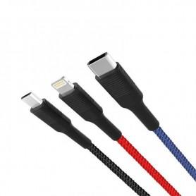 CABLE CARGA RAPIDA TIPO CORDON 3 EN 1 MICRO + TIPO C + LIGHTNING A USB XO