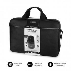 """MALETÍN CON RATÓN SELECT PACK WIRED MOUSE USB + LAPTOP BAG 15,6"""" SUBBLIM"""