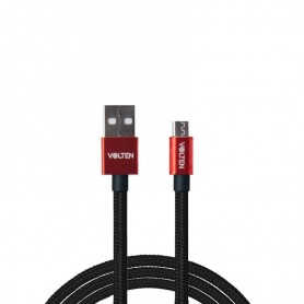 CABLE METAL 2.0 USB A MICRO USB 1 METRO ROJO VOLTEN